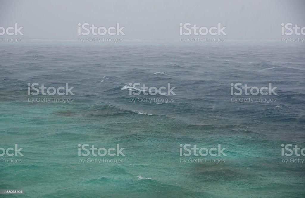 Tropical rainfall over the Indian Ocean stock photo