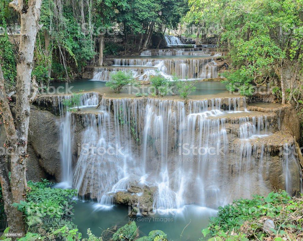 Tropical rainforest waterfall, Thailand stock photo