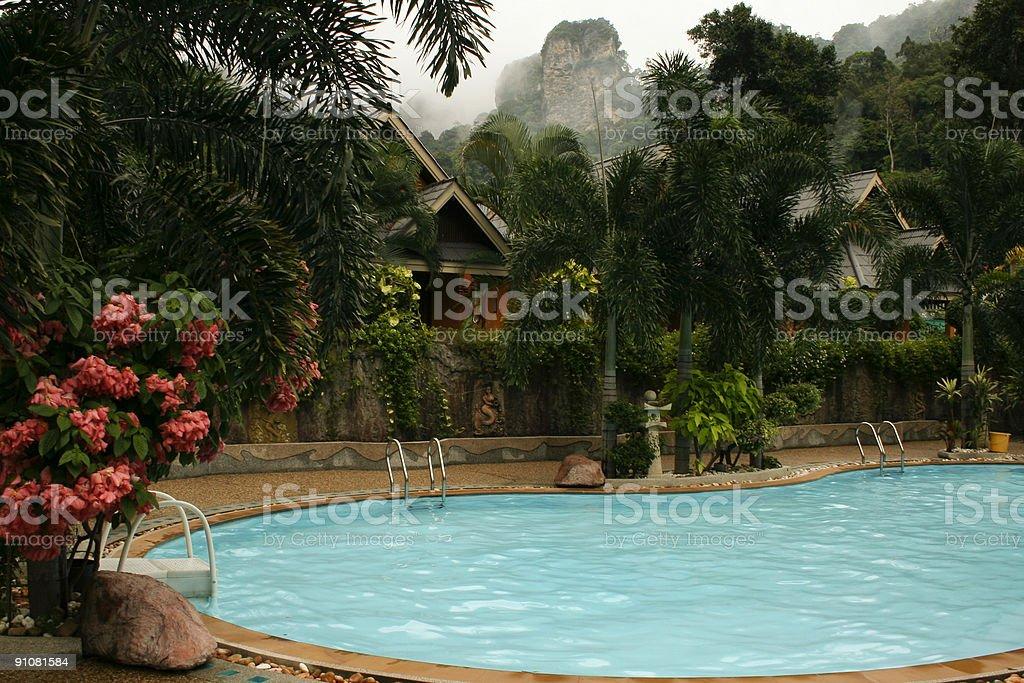 tropical resort hotel swimming pool royalty-free stock photo