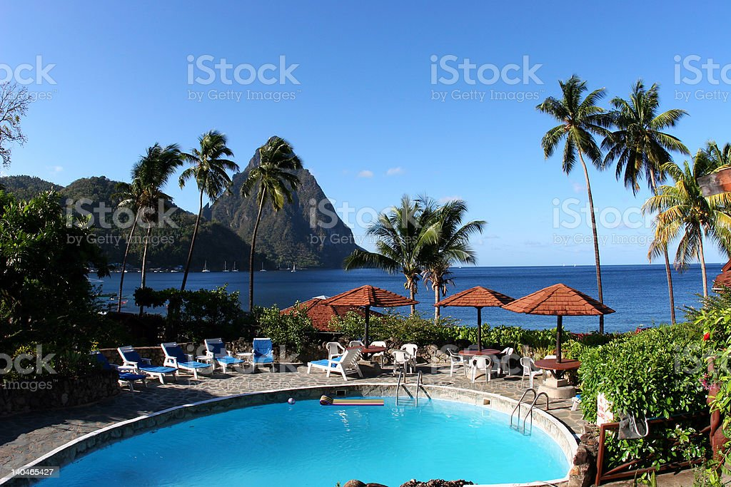 Tropical resort in caribbean stock photo