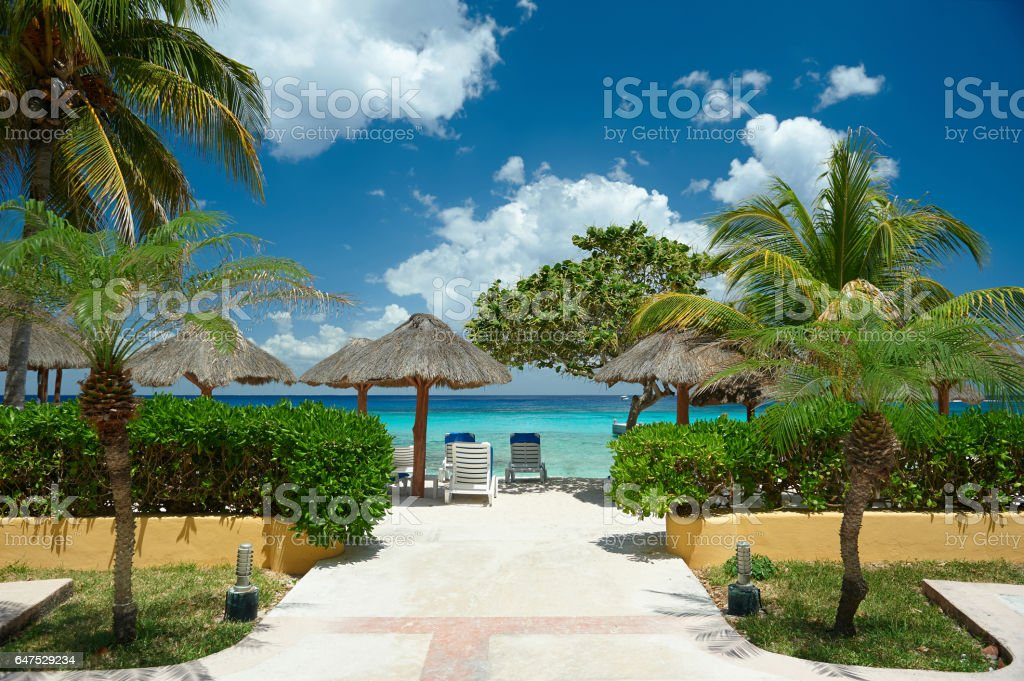 Tropical resort with clear blue water stock photo