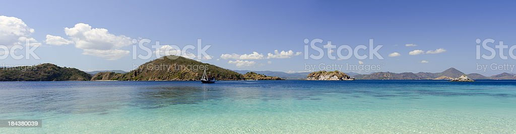 Tropical sea and reef panorama stock photo