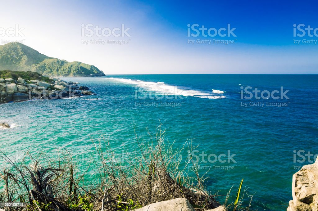Tropical sea by National park Tayona in Colombia stock photo