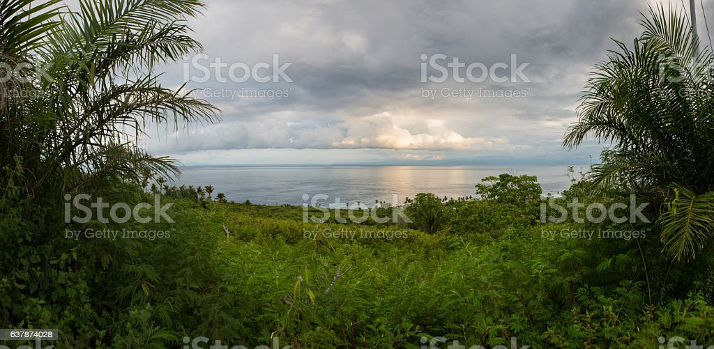 Tropical sea view from a hillside, panorama stock photo