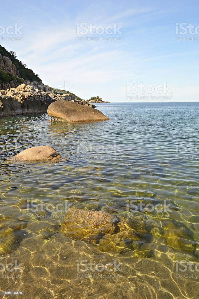 Tropical seascape at sunset royalty-free stock photo