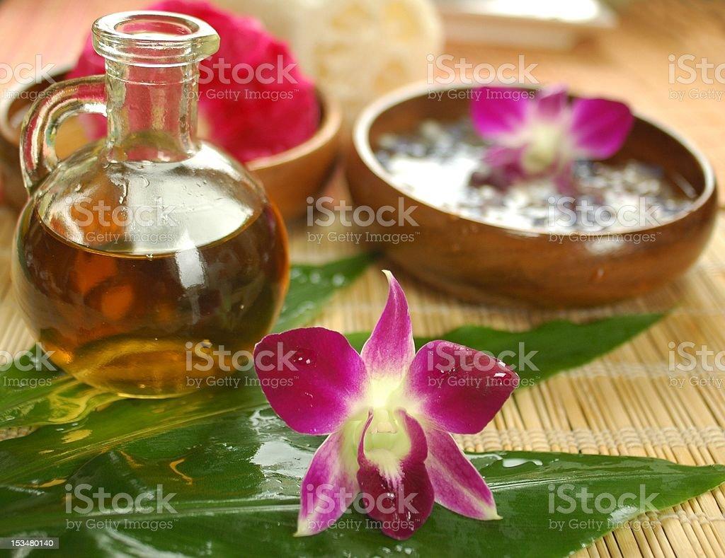 Tropical spa preparations stock photo