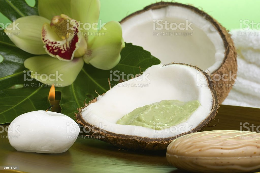 Tropical spa set royalty-free stock photo