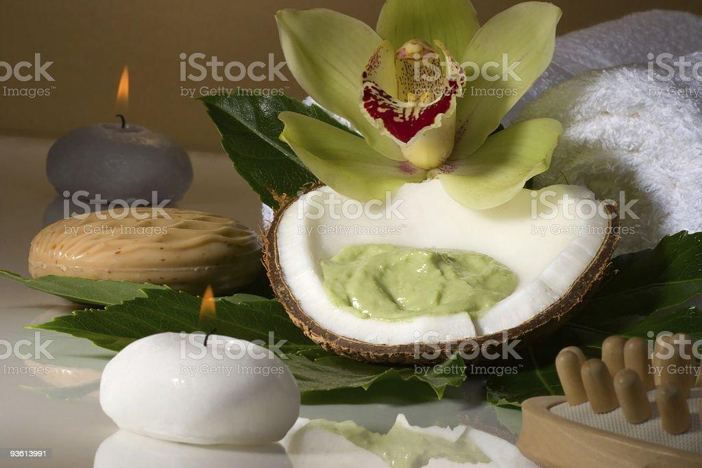 Tropical spa set royalty-free stock photo