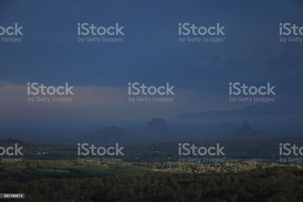 Tropical Storm and Rain over The Glass House Mountains Queensland stock photo