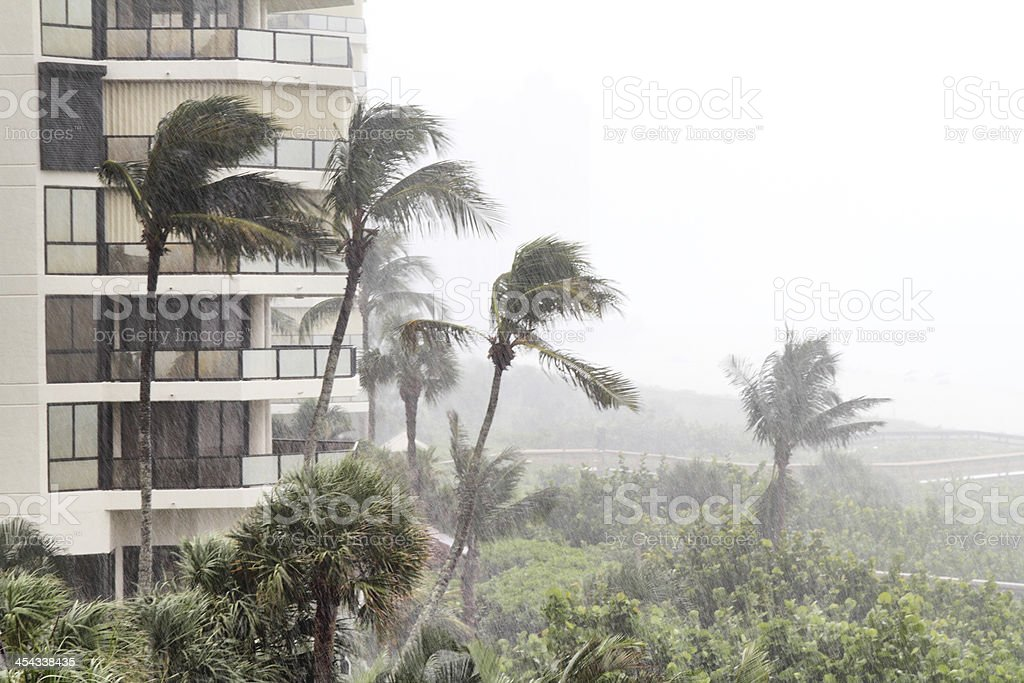 Tropical storm at beach front property stock photo
