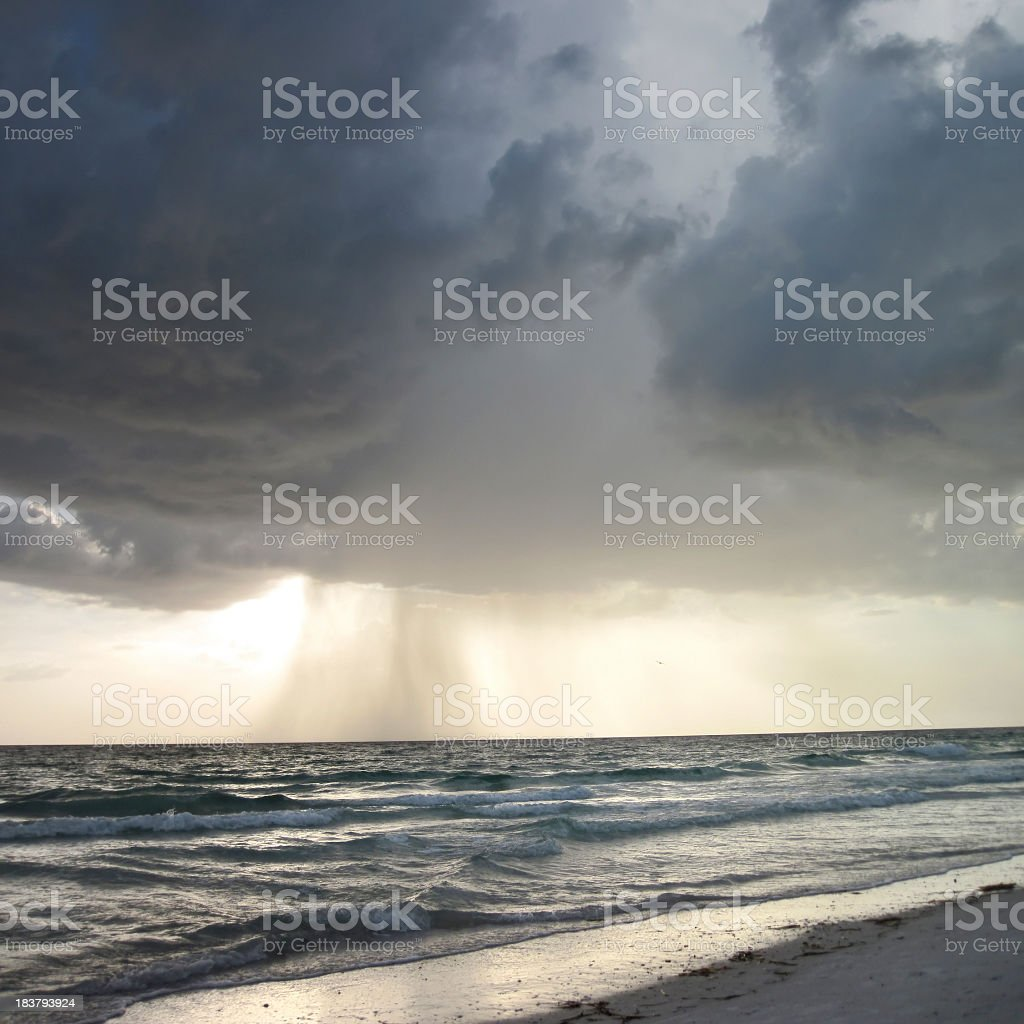 tropical storm over sea stock photo
