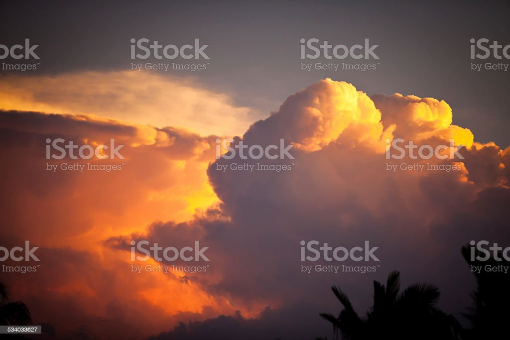 Tropical Storm Super Cell at Sunset stock photo