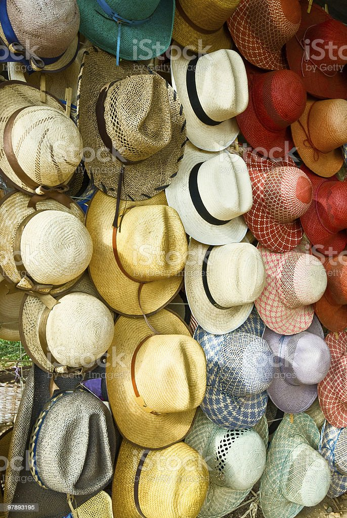Tropical straw hats royalty-free stock photo