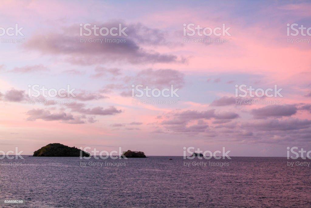 Tropical sunrise at Mayotte island stock photo