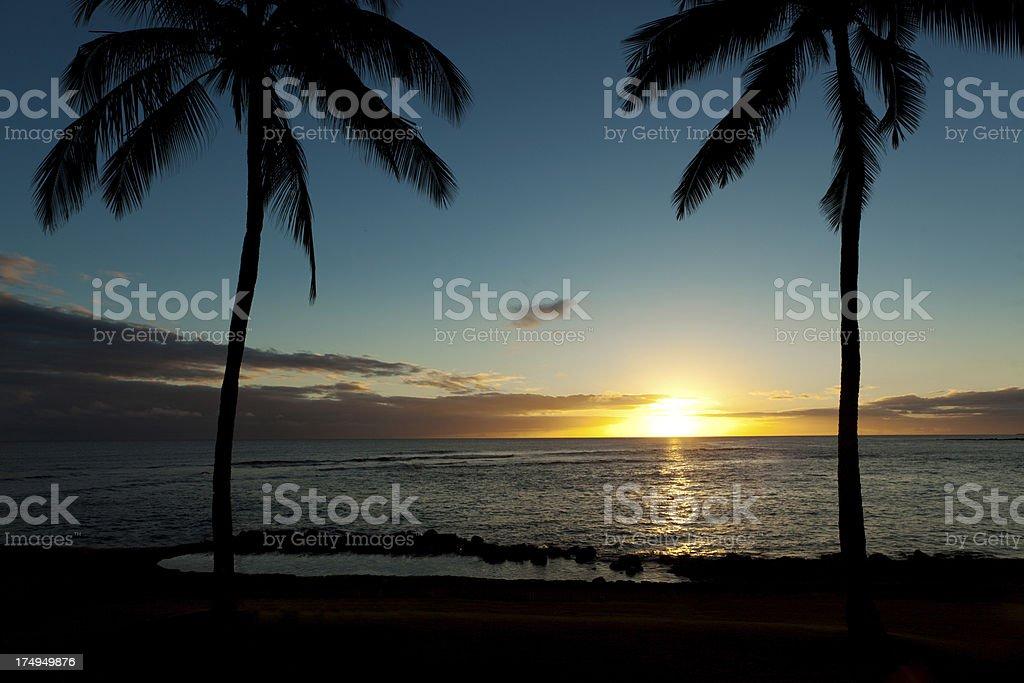 Tropical Sunset at Poipu Kauai Hawaii royalty-free stock photo