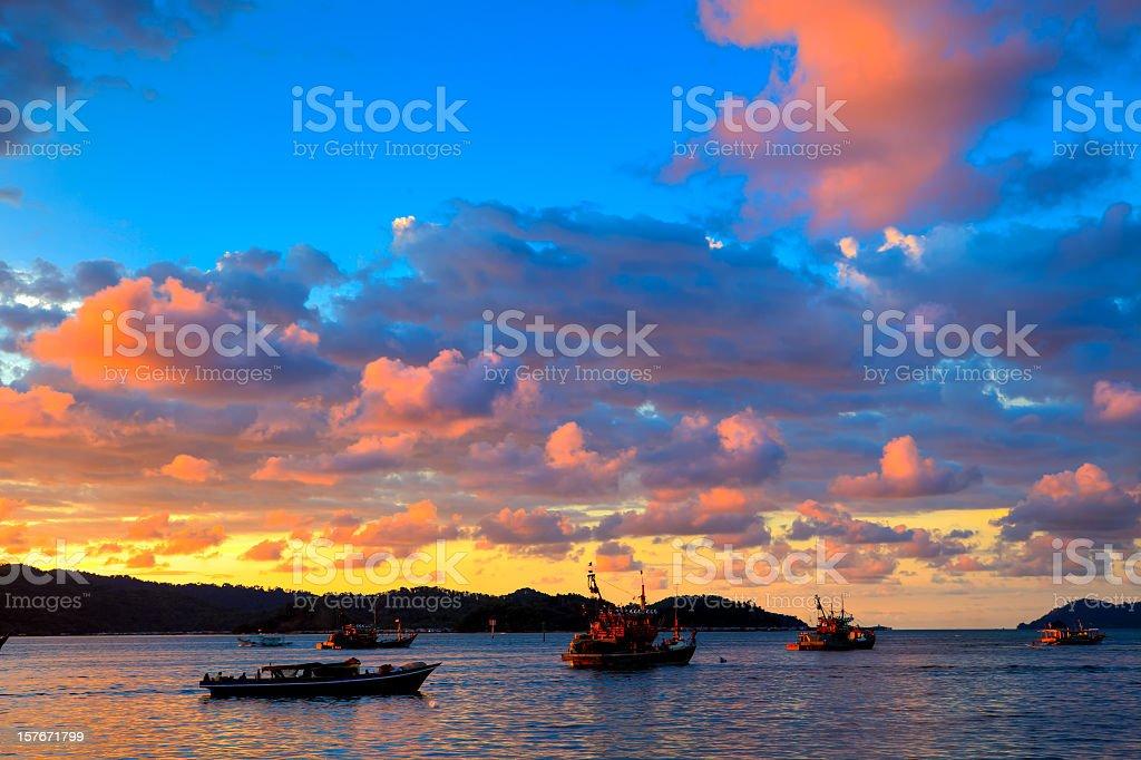 Tropical sunset on Kota Kinabalu bay royalty-free stock photo