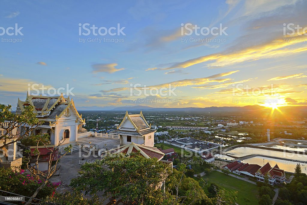 Tropical sunset on temple royalty-free stock photo