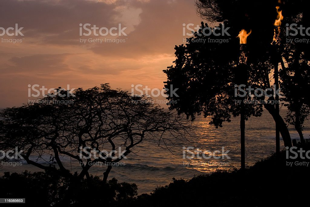 Tropical Sunset Over Ocean, Island Paradise, From Hillside royalty-free stock photo
