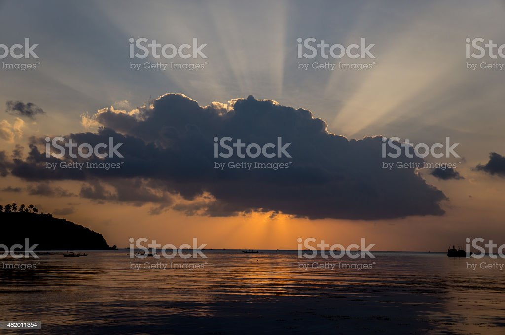 Puesta de sol Tropical foto de stock libre de derechos