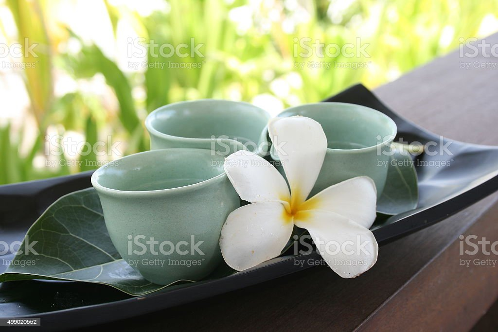 Tropical Tea Cups at Maldives Spa with Frangipani stock photo