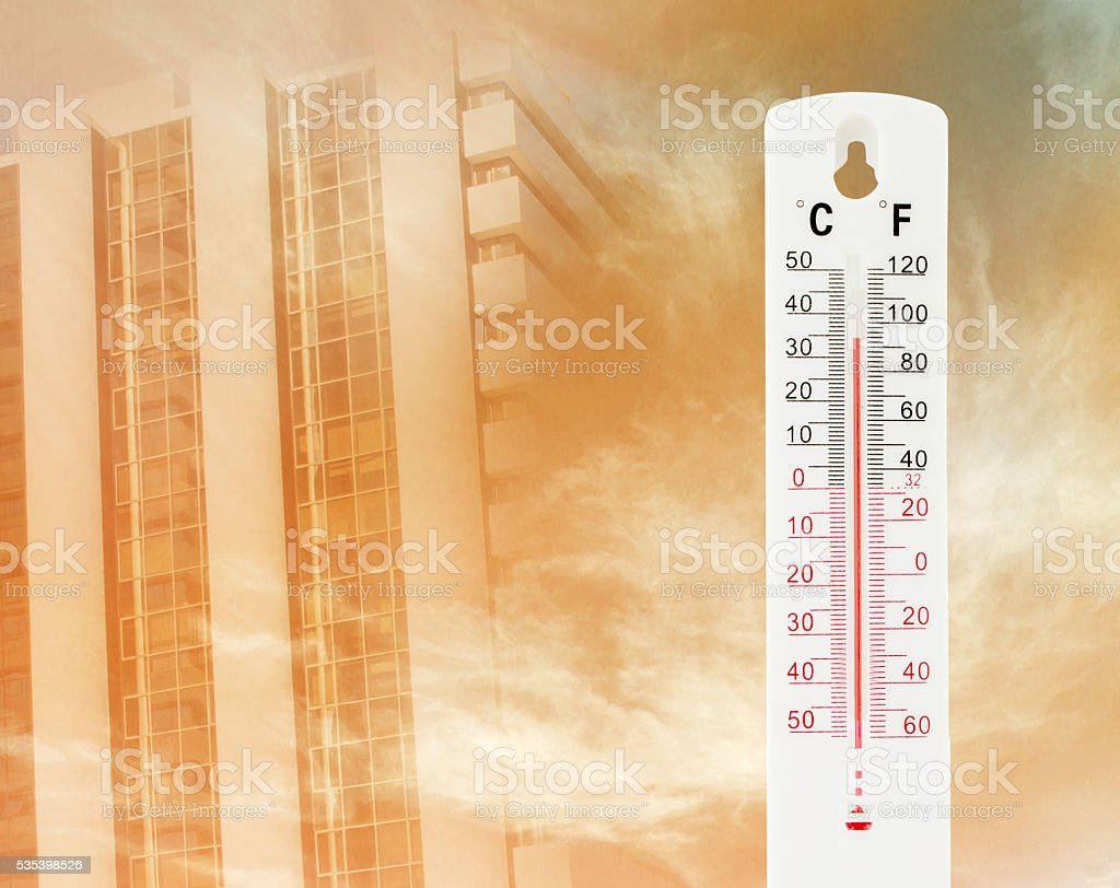 Tropical temperature of 34 degrees Celsius, measured on an outdo stock photo
