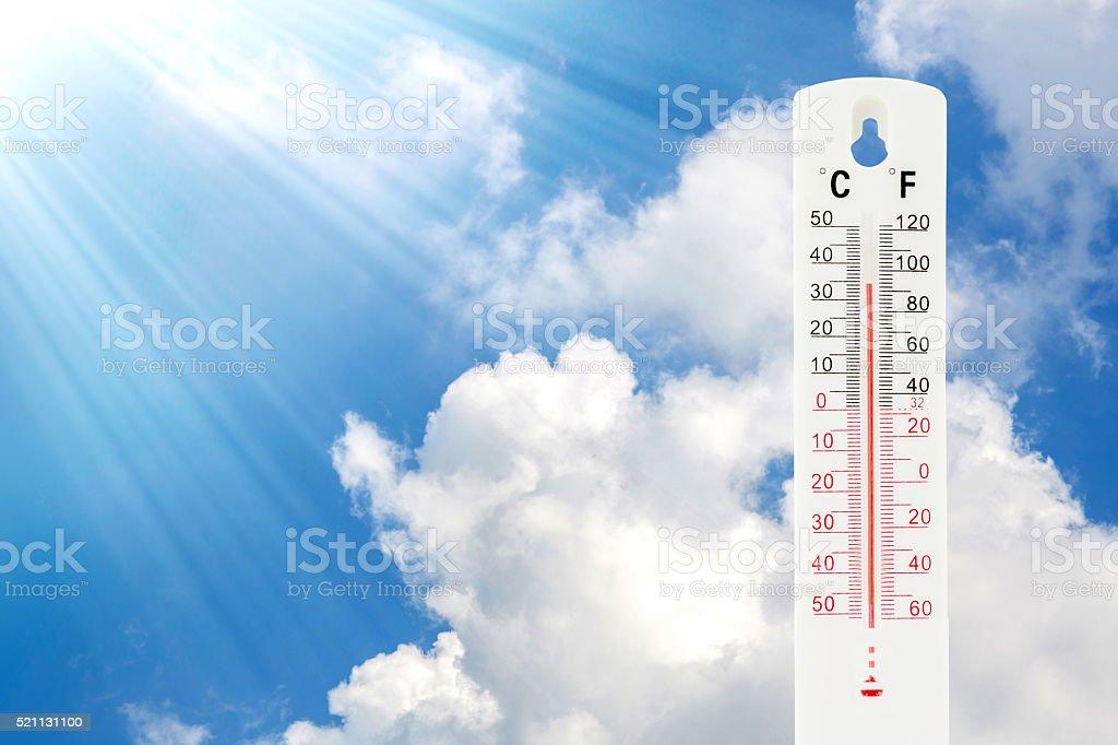 Tropical temperature of 34 degrees Celsius stock photo
