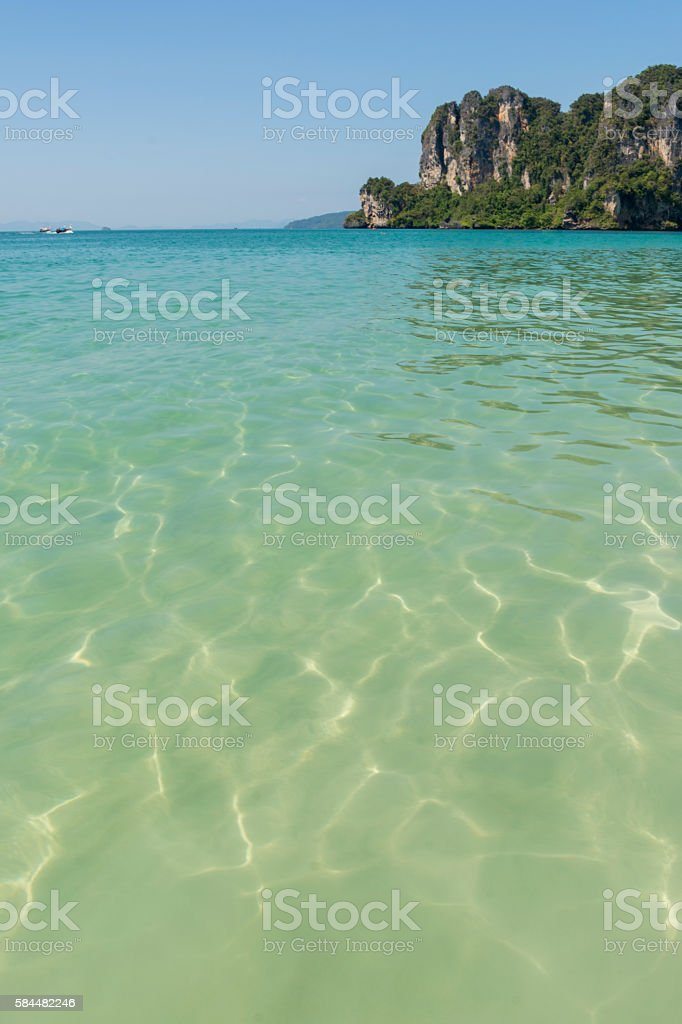 Tropical thailand beach with tuquoise waters stock photo