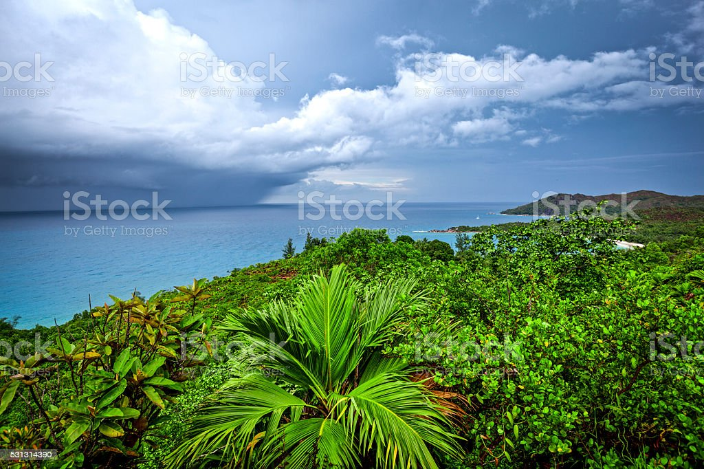 tropical thunderstorm over sea stock photo