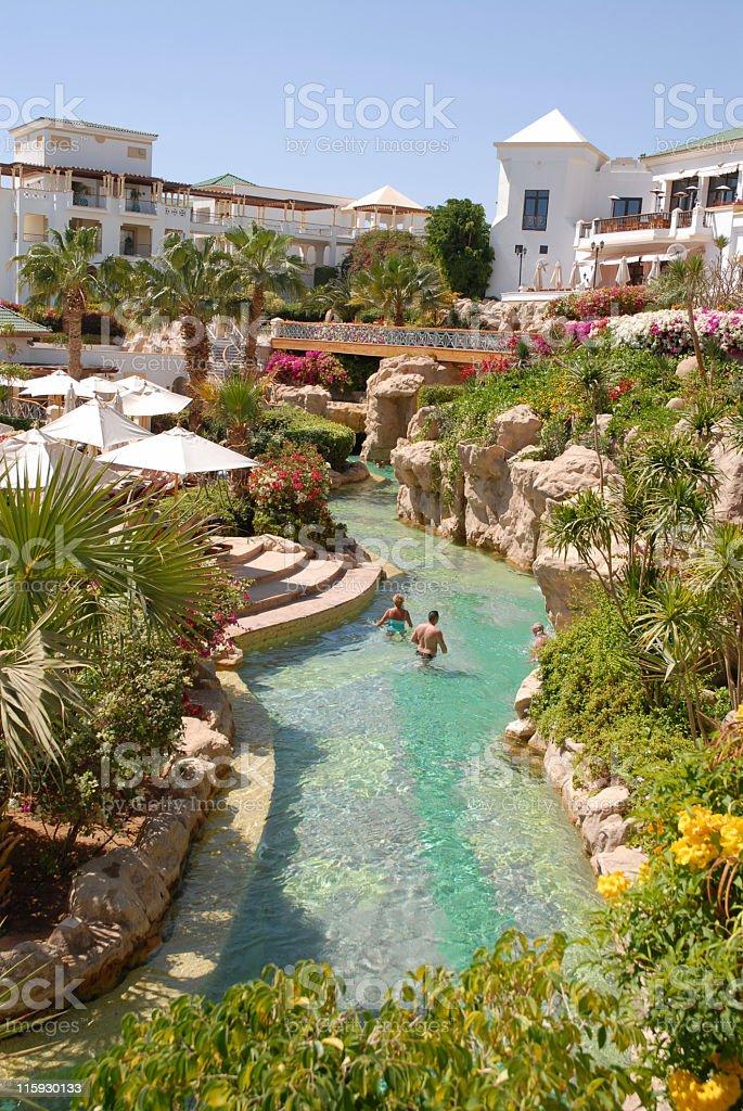 Tropical tourist resort stock photo