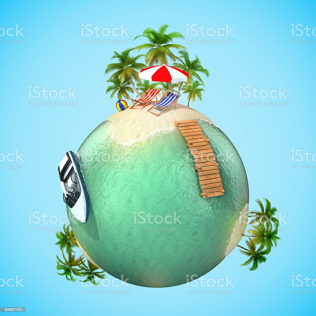 tropical travel vacation 3d planet stock photo