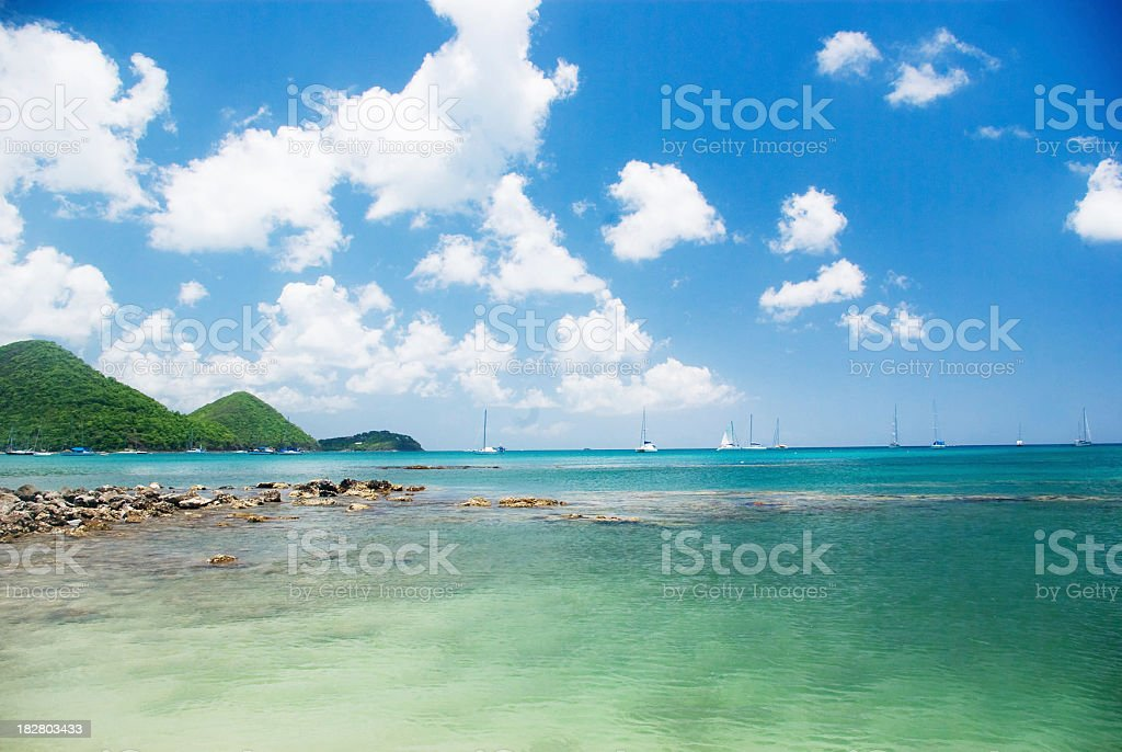 tropical turquoise and blue sky beach scenic stock photo