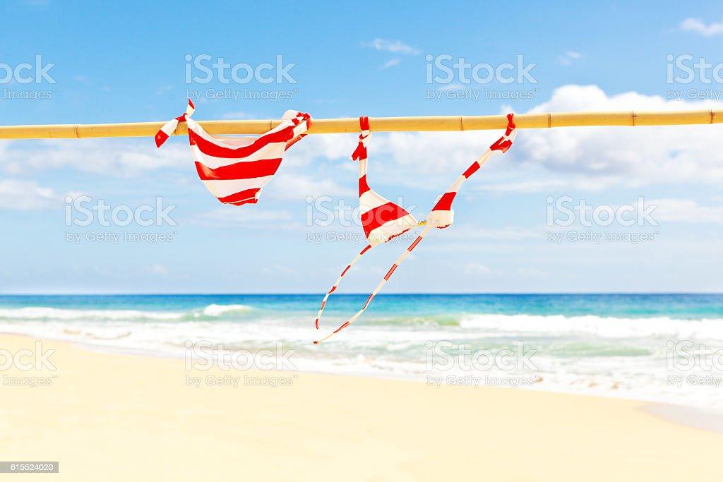 Tropical Vacation Bikini Swimwear Drying on Beach stock photo