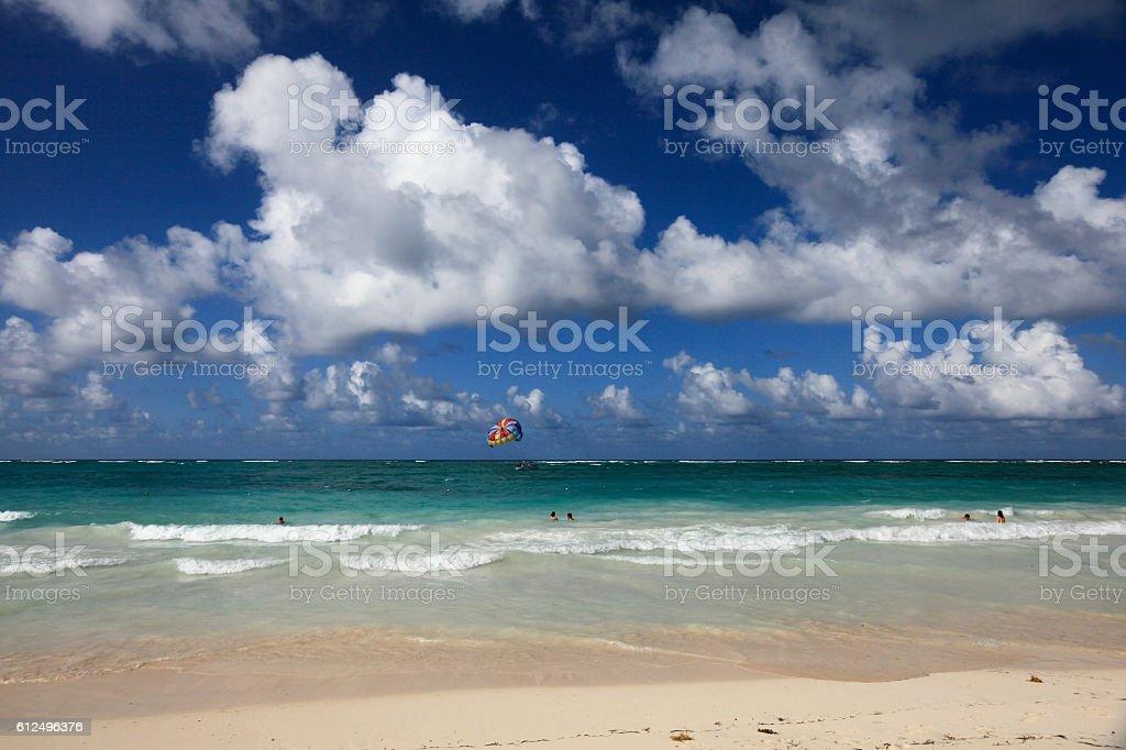Tropical vacation in the ocean on Caribbean beach stock photo