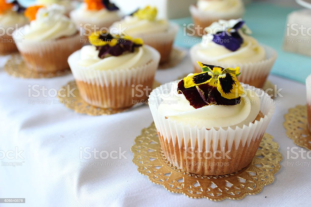 Tropical Vanilla Cupcakes stock photo