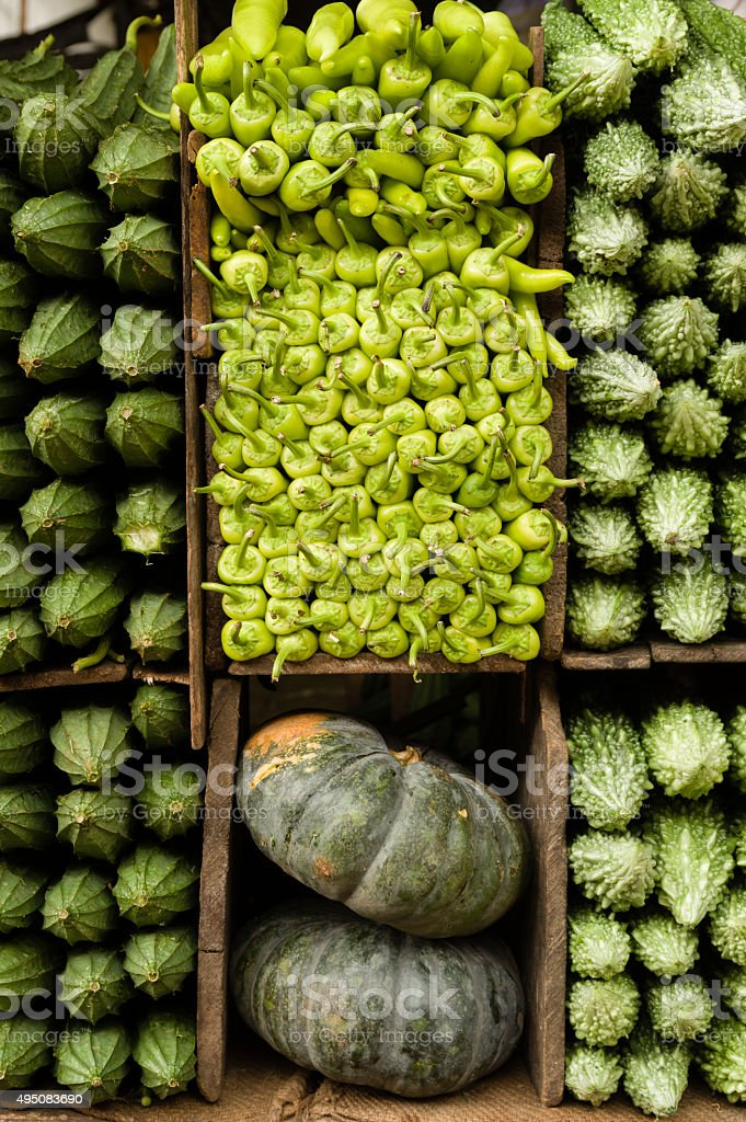 Tropical Vegetables on Display stock photo