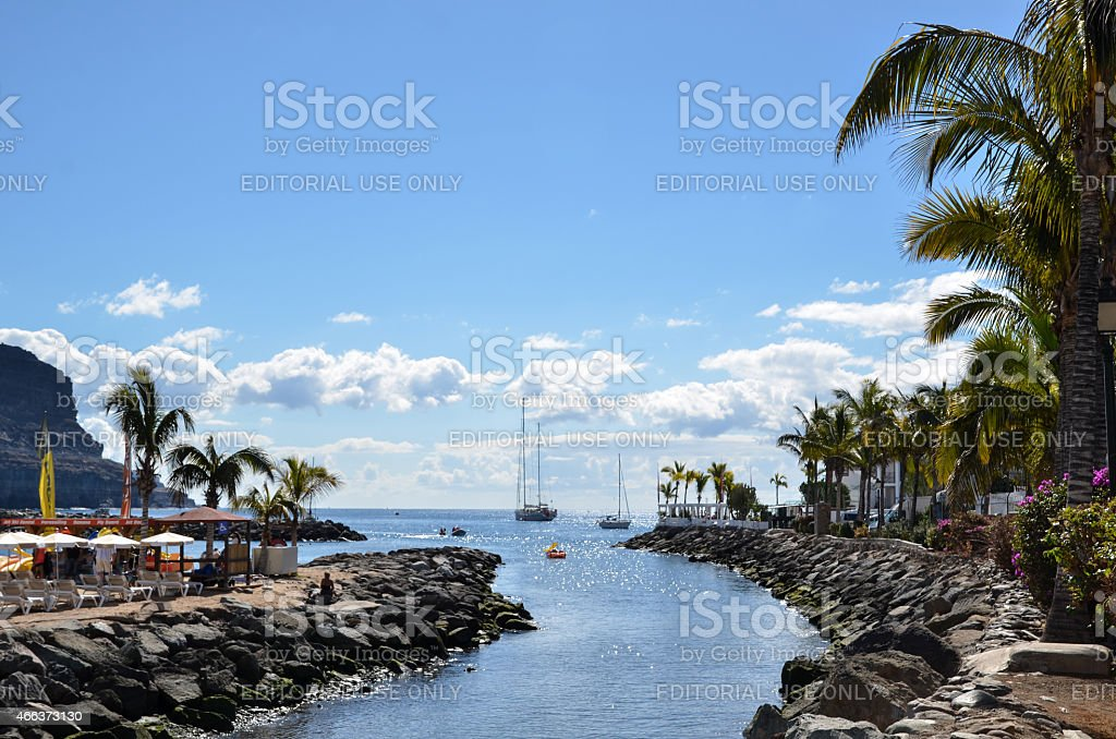 Tropical view from Gran Canaria at the Canary Islands Spain stock photo