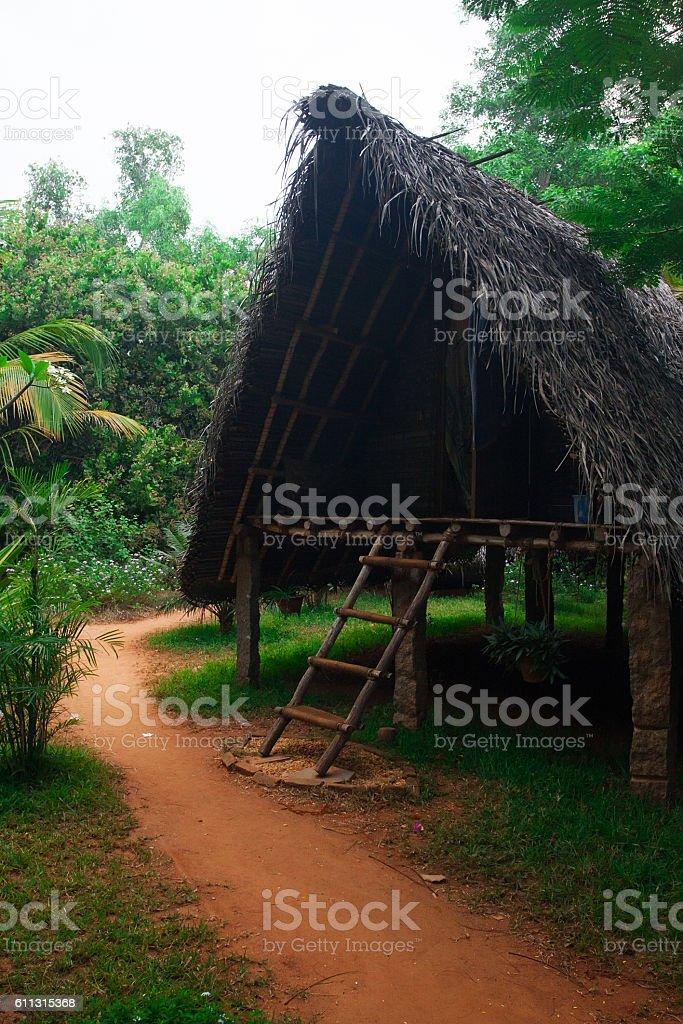 Tropical village at sunrise stock photo