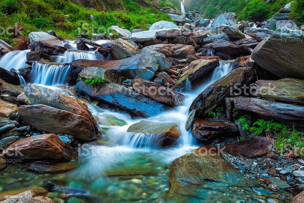 Tropical waterfall. Bhagsu, Himachal Pradesh, India stock photo