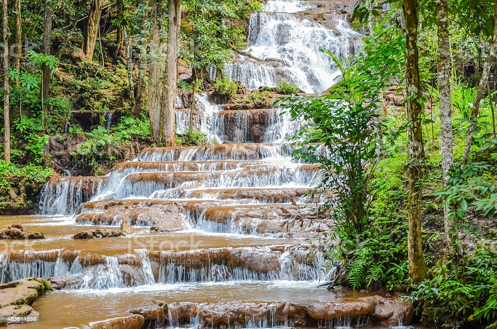 Tropical waterfall  in forest royalty-free stock photo