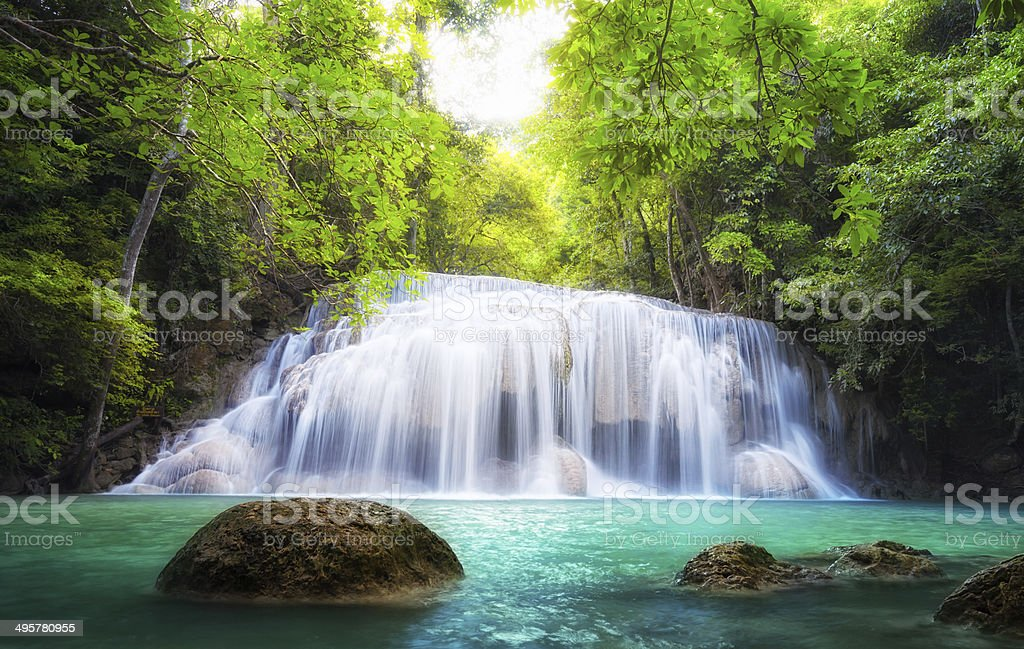 Tropical waterfall in Thailand, nature photography. Fresh water royalty-free stock photo