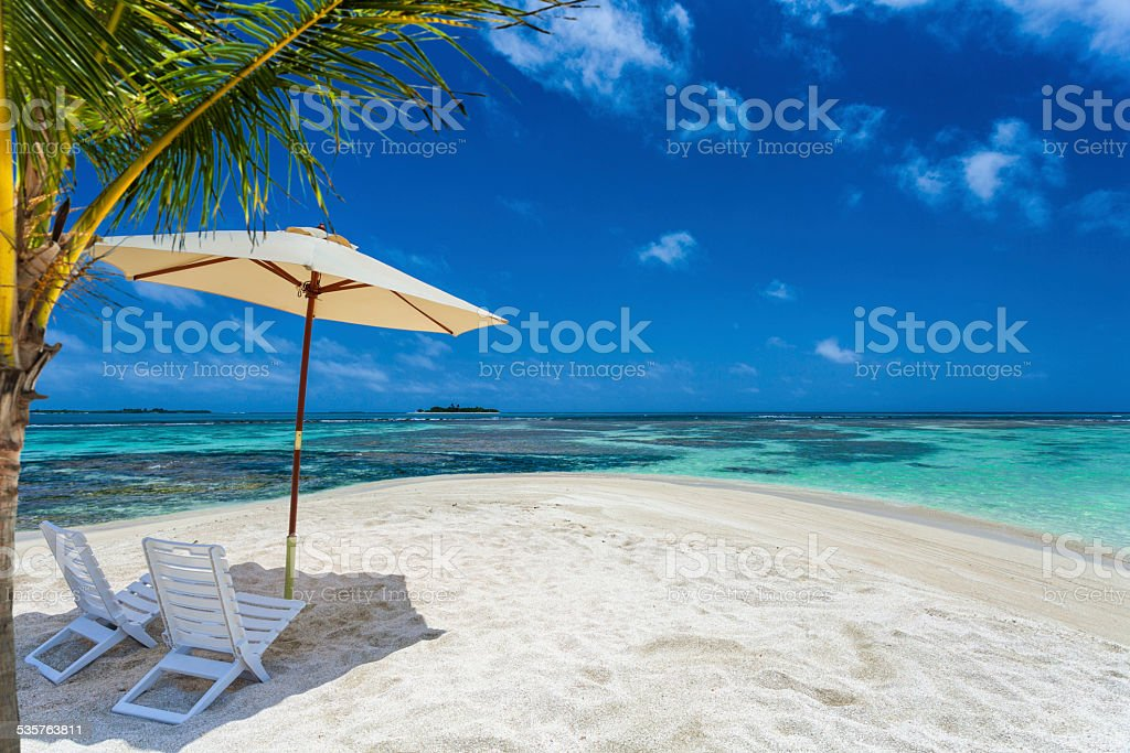 Tropical white sand beach for relax and vacations. stock photo