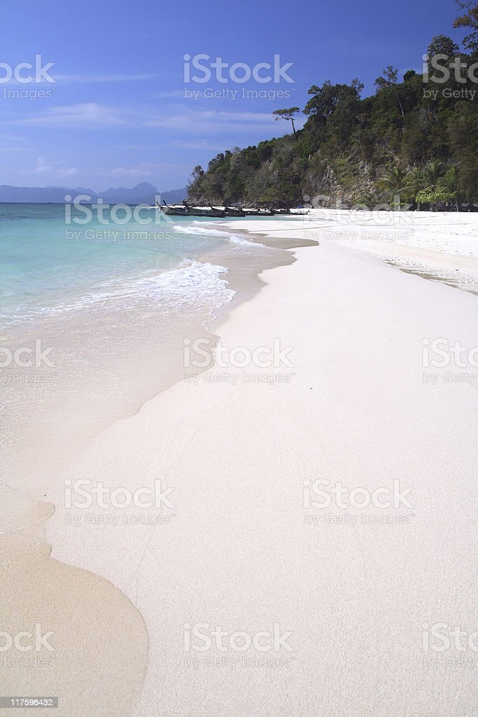 Tropical white sand beach stock photo