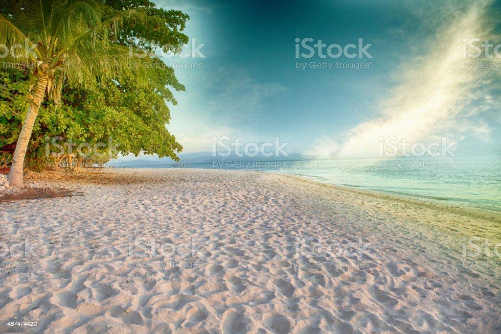 Tropical white sand stock photo