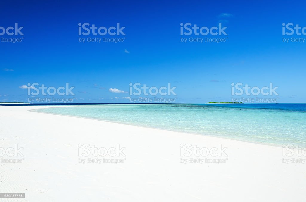 Tropical white sandy beach stock photo