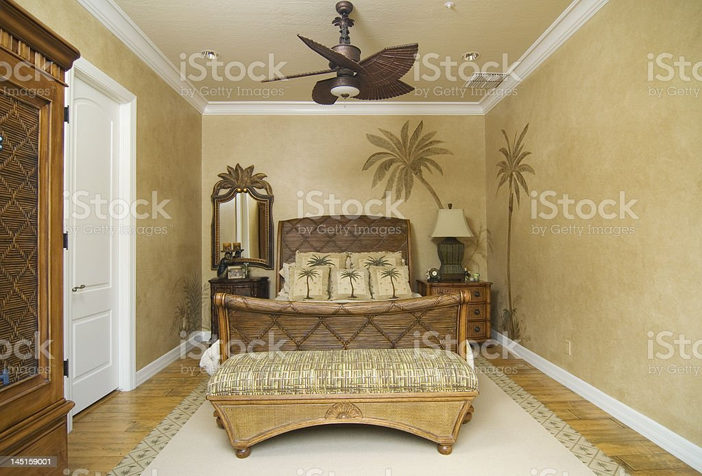 Tropical Wicker Bedroom royalty-free stock photo