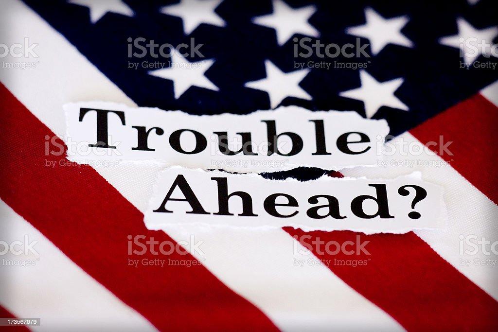 trouble ahead? stock photo