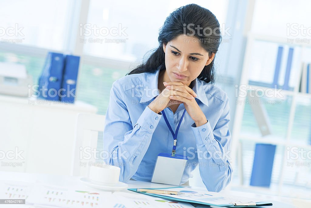 Troubled businesswoman royalty-free stock photo
