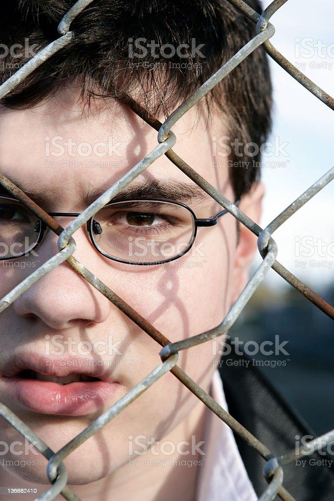 XXL troubled teen boy stock photo