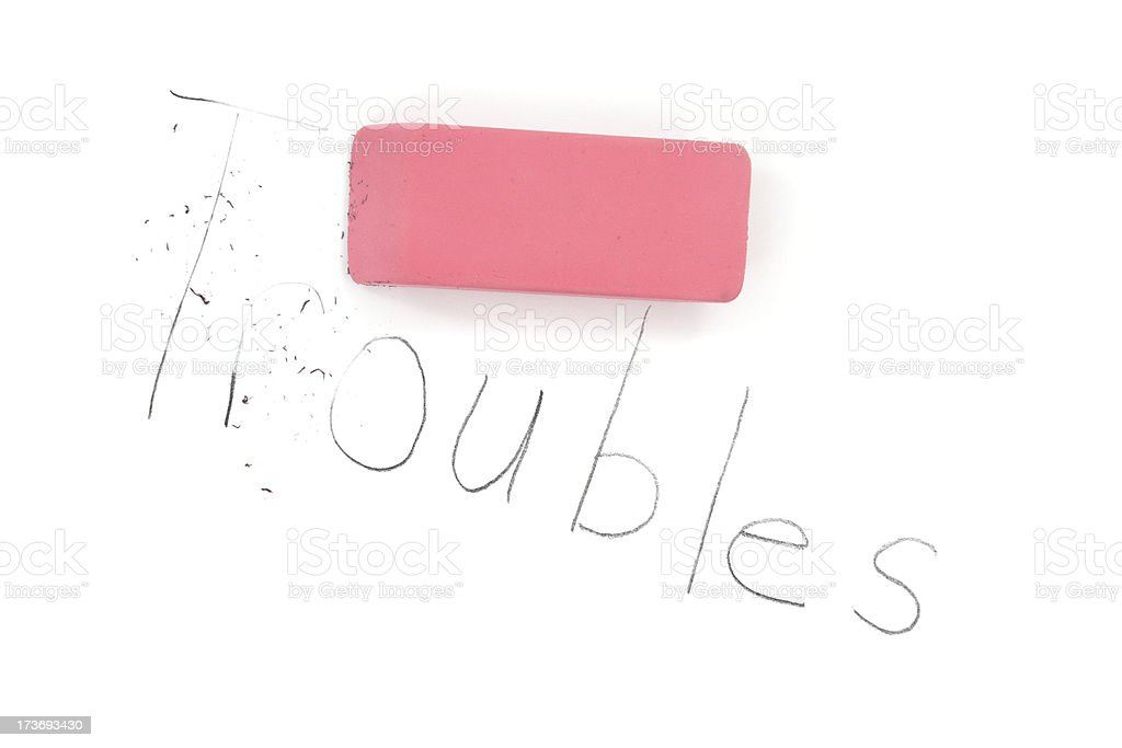 Troubles Eraser Concept stock photo