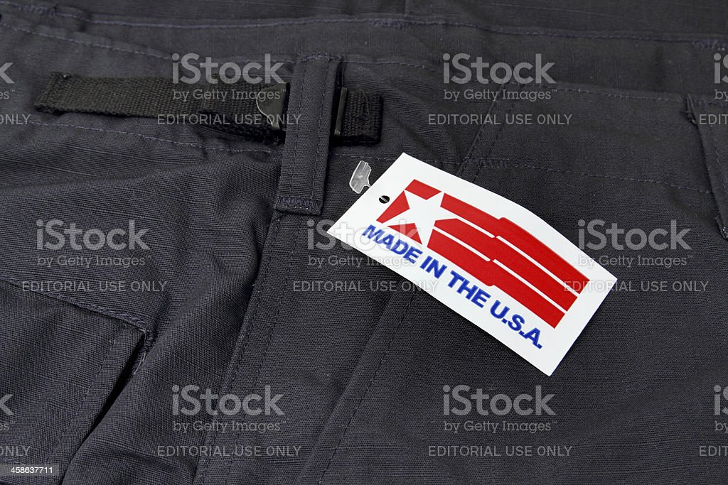 Trousers with Made in the USA tag royalty-free stock photo